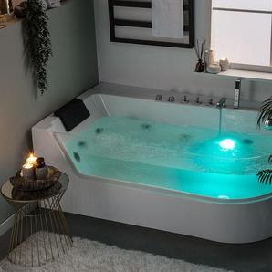 Whirlpool Badewanne weiß Eckmodell mit LED 170 x 80 cm ACUARIO