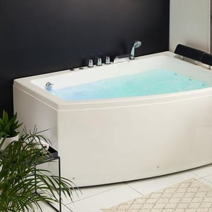 Whirlpool Badewanne weiß Eckmodell mit LED 182 x 122 cm links SERRANA