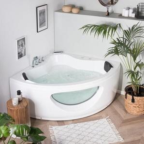 Whirlpool-Badewanne weiß Eckmodell 146 cm TOCOA