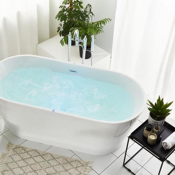 Whirlpool Badewanne weiß freistehend mit LED oval 170 cm HAVANA