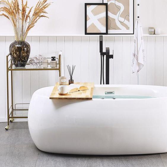 Whirlpool Badewanne weiß freistehend oval mit LED 180 cm MUSTIQUE