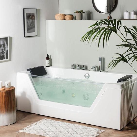 Whirlpool Badewanne weiß LED Unterwasserbeleuchtung 170 cm SAMANA