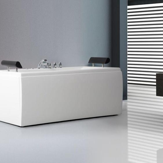Whirlpool Badewanne weiß mit LED 170 cm MONTEGO