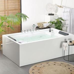Whirlpool Badewanne freistehend weiß rechteckig 180 x 110 cm SAONA