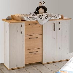 Wickelkommode Micha, bis 50 kg, umbaufähig zur Kommode, 127 cm B/H/T: x 98 71 weiß Baby Wickelkommoden Babymöbel