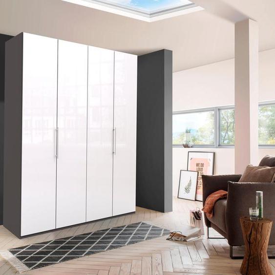 WIEMANN Falttürenschrank Loft, Glasfront 200 x 216 58 (B H T) cm, 4-türig, 4-türig weiß Drehtürenschränke Kleiderschränke Schränke