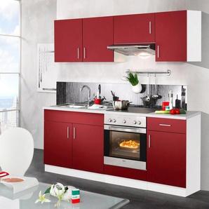 wiho Küchen Küchenzeile »Valencia«, mit E-Geräten, Breite 210 cm