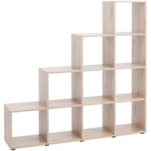 Raumteiler- und Treppenregal »mit 10 Fächern«, Maße138,5x29x143 cm