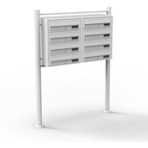 8er Briefkastenanlage Weiß 2x4 Fächer Standbriefkasten Postfach Briefkasten Postkasten - WILTEC