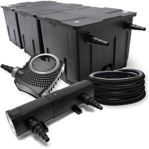 Filter Set aus Bio Teichfilter bis 90000l, UVC Teichklärer mit 36W, 80W Pumpe und 25m Schlauch - WILTEC