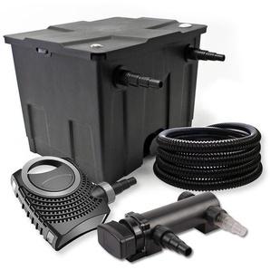 SunSun 1-Kammer Filter Set 12000l mit 18W UVC 3er Teich Klärer NEO7000 50W Pumpe und Schlauch - WILTEC