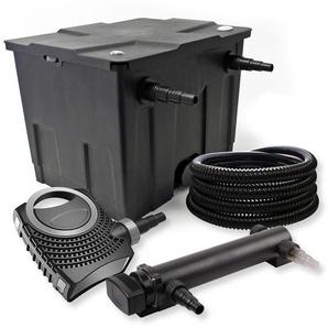 SunSun 1-Kammer Filter Set 12000l mit 24W UVC 3er Teich Klärer NEO7000 50W Pumpe und Schlauch - WILTEC