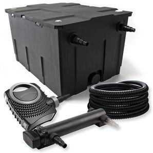SunSun 1-Kammer Filter Set 60000l mit 18W UVC 3er Teich Klärer NEO7000 50W Pumpe und Schlauch - WILTEC