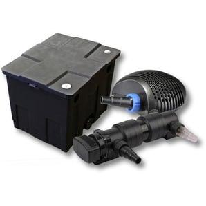 SunSun 1-Kammer Filter Set für 12000l mit 18W UVC 6er Teich Klärer und NEO7000 50W Pumpe - WILTEC