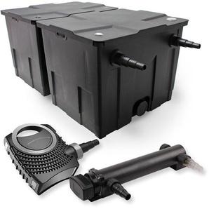 SunSun 2-Kammer Filter Set 60000l 24W UVC 3er Teich Klärer NEO7000 50W Pumpe - WILTEC