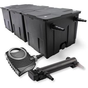 SunSun 3-Kammer Filter Set 90000l 24W UVC 3er Teich Klärer NEO7000 50W Pumpe - WILTEC