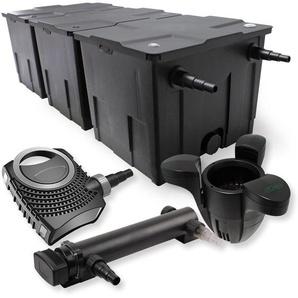 SunSun 3-Kammer Filter Set 90000l 24W UVC 3er Teich Klärer NEO8000 70W Pumpe Skimmer - WILTEC