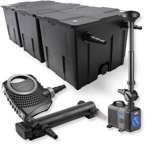SunSun 3-Kammer Filter Set 90000l 24W UVC Teich Klärer NEO7000 50W Pumpe Springbrunnen - WILTEC