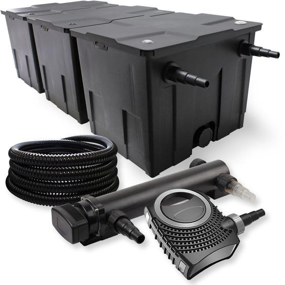 SunSun 3-Kammer Filter Set 90000l 36W UVC 3er Teich Klärer NEO10000 80W Pumpe Schlauch - WILTEC