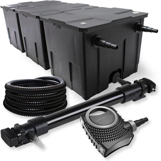 SunSun 3-Kammer Filter Set 90000l 72W UVC 6er Teich Klärer NEO10000 80W Pumpe Schlauch - WILTEC