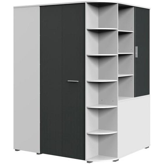 Eck-Kleiderschrank  begehbar »Joker«, 124x198x148 cm (BxHxT), WIMEX, weiß, Material Graphit, Kunststoff, Metall