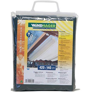 Windhager Sonnensegel für Seilspanntechnik Sonnenschutz Segel 420 x 140 cm, ideal für Pergola oder Wintergarten, DUNKEL-GRÜN 10805