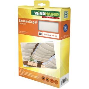 Windhager Sonnensegel für Seilspanntechnik Sonnenschutz Segel 270 x 140 cm, ideal für Pergola oder Wintergarten, UNIWEISS 10874