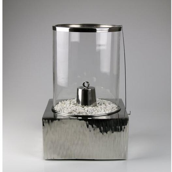 Windlicht aus Edelstahl und Glas
