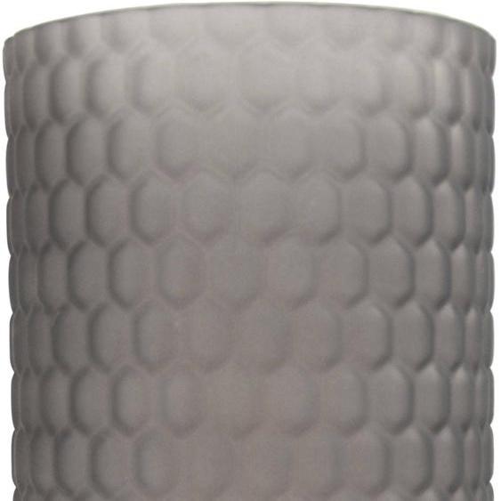 Windlicht, aus Glas, mit Wabenstruktur H: 25 cm grau Kerzenhalter Kerzen Laternen Wohnaccessoires
