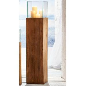 Windlicht aus Glas und Holz