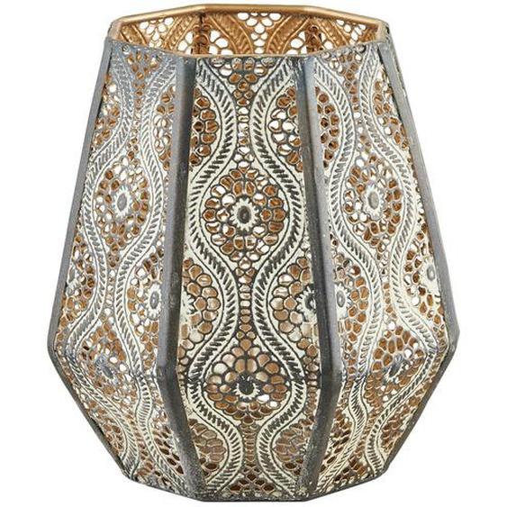 Windlicht mit Glaseinsatz | gold | Glas , Metall |