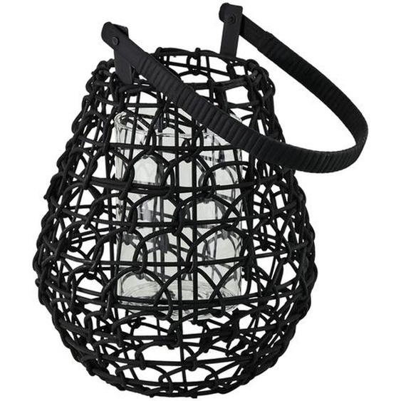 Windlicht mit Glaseinsatz - schwarz - Glas , Weide, Metall | Möbel Kraft