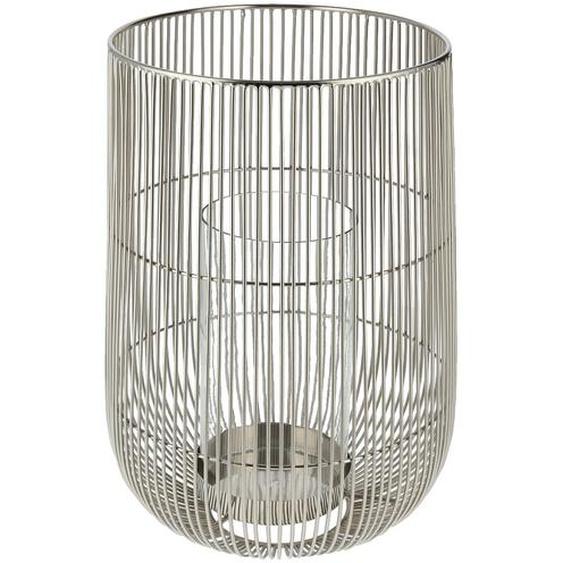 Windlicht - silber - Stahl, Glas | Möbel Kraft