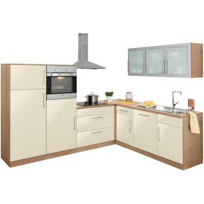 Winkelküche mit E-Geräten, weiß, »Aachen«, wiho Küchen