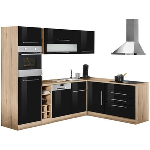 Winkelküche , schwarz, »Eton«, Energieeffizienzklasse: C, HELD MÖBEL