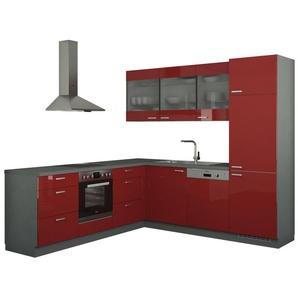 Winkelküche ohne Elektrogeräte  Sylt ¦ rot