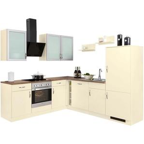 Winkelküche mit E-Geräten »Peru«, dunkelbraun, wiho Küchen