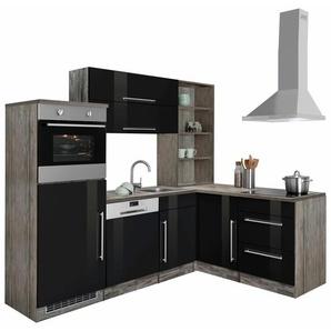 Winkelküche »Samos«, schwarz, Energieeffizienzklasse: C, HELD MÖBEL