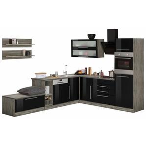 Winkelküche »Samos«, schwarz, Energieeffizienzklasse: B, mit Schubkästen, HELD MÖBEL