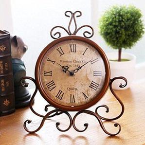 WINOMO Tischuhren Europäischen Stil Retro Antik Vintage Eisen Tischuhr für Home Desk Schrank Regal Dekoration (braun)