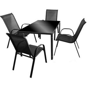 5tlg. Gartengarnitur Glastisch 150x90cm Schwarz + 4 Stapelstühle mit Textilenbespannung Schwarz Metall Gartenstühle Gartentisch Sitzgruppe - WOHAGA®