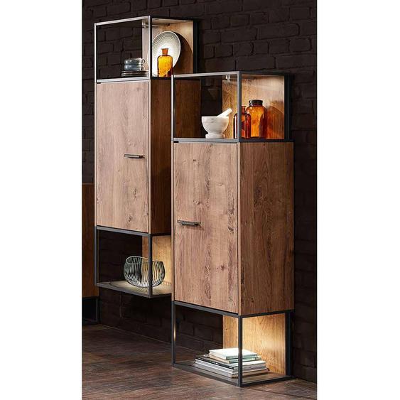Wohnconcept Manhattan Stand-/Hängeschrank mit Beleuchtung 45x38x156cm Haveleiche Cognac/Graphit