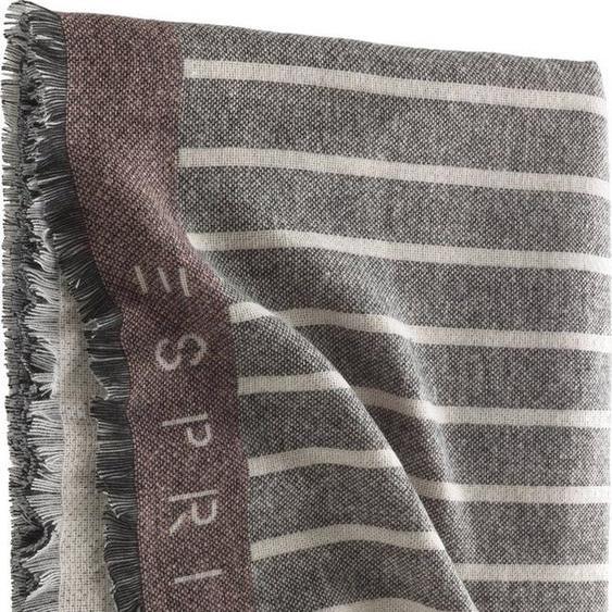 Wohndecke »Bigstripe«, Esprit, mit feinen Fransen und Logoschriftzug