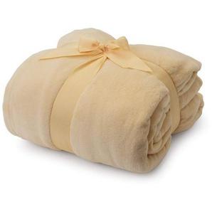 Wohndecke »Lumaland TV Kuscheldecke mit Ärmeln 150 x 180...«, Lumaland, aus weichem Coral Fleece mit Handytasche 150 x 180 + 35 cm Fußtasche beige