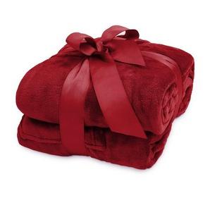 Wohndecke »Lumaland TV Kuscheldecke mit Ärmeln aus weich...«, Lumaland, aus weichem Coral Fleece mit Handytasche 150 x 180 + 35 cm Fußtasche bordeaux