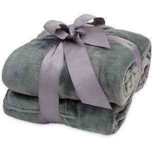 Wohndecke »Lumaland TV Kuscheldecke mit Ärmeln aus weich...«, Lumaland, aus weichem Coral Fleece mit Handytasche 150 x 180 + 35 cm Fußtasche grau