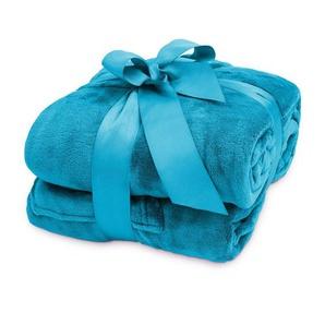 Wohndecke »Lumaland TV Kuscheldecke mit Ärmeln aus weich...«, Lumaland, aus weichem Coral Fleece mit Handytasche 150 x 180 + 35 cm Fußtasche himmelblau