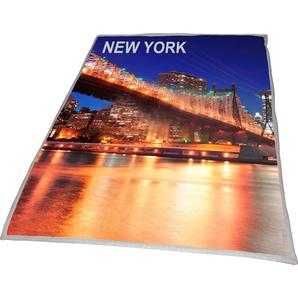 Wohndecke »New York Bridge«, Goldmond, mit aufgedrucktem Motiv