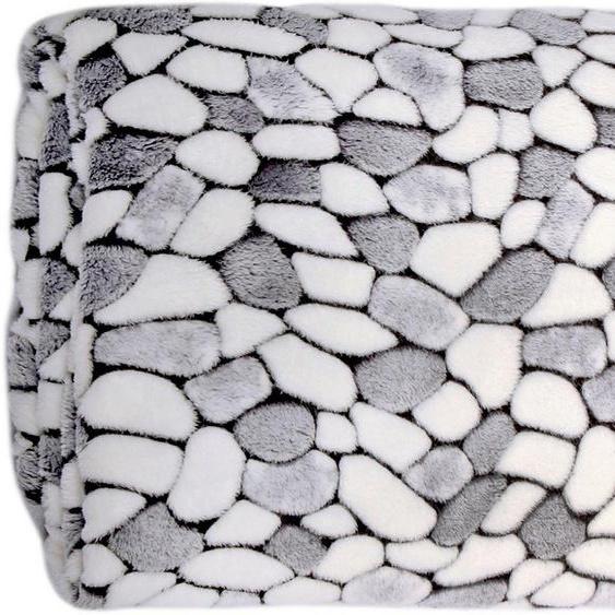Wohndecke »Stone«, Delindo Lifestyle, kuschelig weiche Coral Fleece Decke in Steinoptik