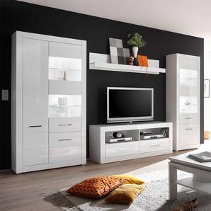 Wohnkombination in Hochglanz Weiß LED Beleuchtung (4-teilig)